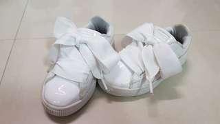 (二手鞋)正品PUMA 女童鞋 蝴蝶結 白色 漆皮