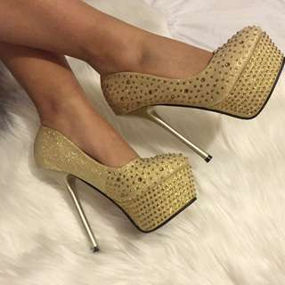 Gold Diamanté Stud Heels