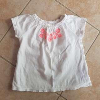 Carter's Top 9m baby white t shirt floral 6m 12m cotton