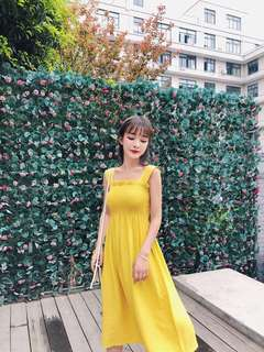 Yellow Midi Dress 吊带背心松紧带连衣裙