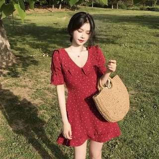 Retro Red Mini Dress 法式水手印花连衣裙