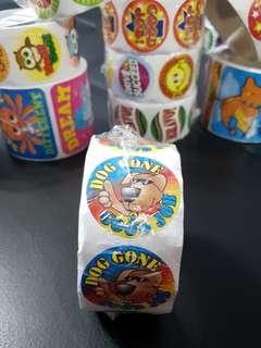 [INSTOCK] BN Roll of Dog Gone Good Job Reward/Merit Stickers (Oriental Trading)