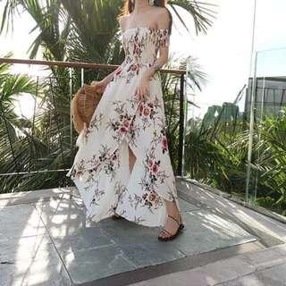 🚚 現貨超美度假自留款印花一字領性感長洋裝