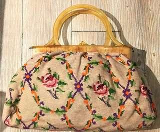 La BLANCHE Vintage 1960s復古 十字繡花布大膠抽 古董手袋