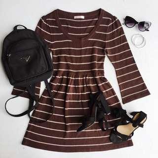 Brown stripes dress