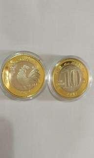 中国 鸡年 纪念币全新