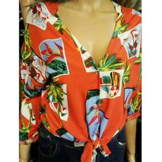 Red Orange Summer Palm Hawaiian Buttondown