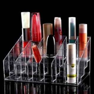 (30)24 Trapezoid Clear Makeup Display Lipstick Stand Case Cosmetic Organizer Case