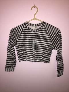 Houndstooth Print Cropped Top