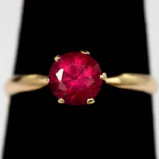 Ruby Solitaire Ring in Yellow Gold