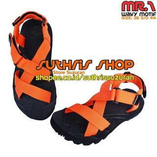 Sandal Gunung Suzuran Cross Mr1 Black w Orange