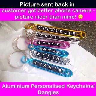 Aluminium Personalised Keychains / Dangles (Wirecraft fob customised gifts Children's Day Teacher's Valentine Graduation Raya Christmas) [uncle anthony]  FOR MORE PICS & DETAILS, 👉Http://carousell.com/p/101405144