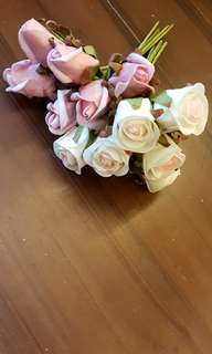 Foam flowers. 6pink, 6white.