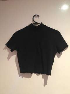 Black Turtle Neck Crop Top