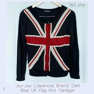 Joy-Joy (Japanese Brand) Dark Blue UK Flag Knit Cardigan