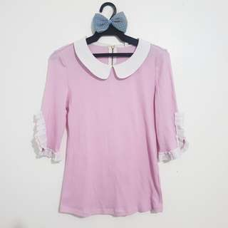 Pink Collared Top