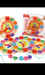 Brand new wooden blocks clock toy for kids