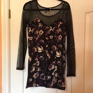 H&M Floral Tight Long sleeve Dress - Size 10