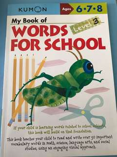 Kumon Ages 6-8; My book of Words For School