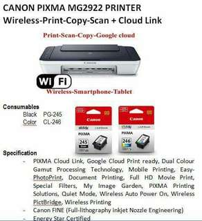 Canon printer MG2922 (PRINT-COPY-SCAN  WIFI PRINTER)