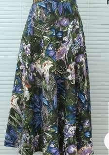 古董花草藍紫綠色圖案大裙擺長裙裙子vintage古著