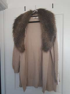 Forever New Knit Cardigan Fur Coat Size 10