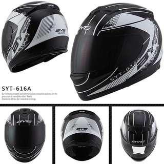 Black White Full Face Helmet Motorcycle Bike