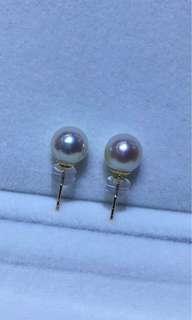 天然海水Akoya7.5-8正圓强光透粉幾乎無瑕18k耳環