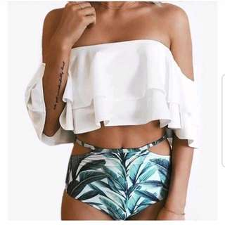 White Swimsuit Offshoulder with Higjwaist Floral