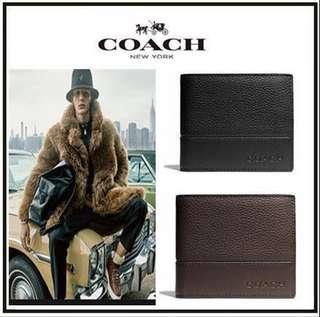 COACH 74634 短夾 皮夾 錢包 男生短夾 男夾 男士錢包 附送鑰匙扣 黑色高級禮盒
