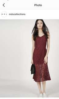 Lace Flare Dress in Wine