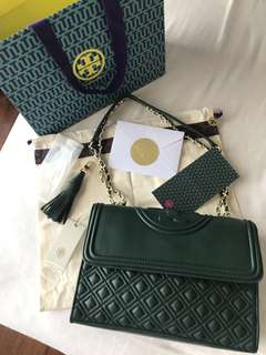 Authentic Tory Burch Fleming Green Medium Size