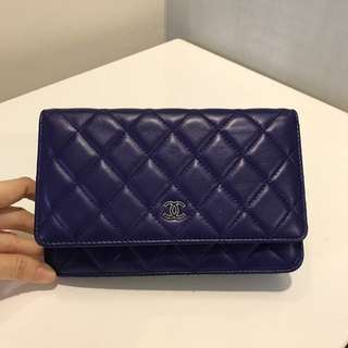 Chanel Lambskin Wallet on Chain in Navy Blue with SHW