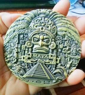 Inca Mayan Calendar Souvenir Coin,Gold Plated,Gift