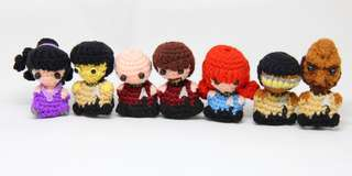Star Trek amigurumi, crochet, jean luc picard, william riker, data, worf, deanna troi, geordi la forge, beverly crusher