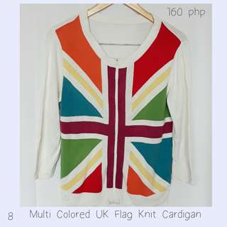 (REPRICED from 180php) Multi Colored UK Flag Knit Cardigan
