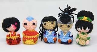 Last avatar amigurumi, crochet, aang, katara, sokka, toph, zuko
