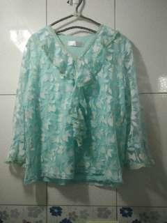 香港購入 古著 超美超仙 荷葉領蕾絲雪紡上衣