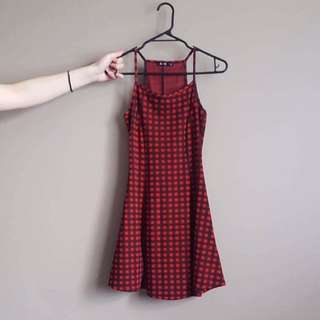 Black/Red Gingham Skater Dress