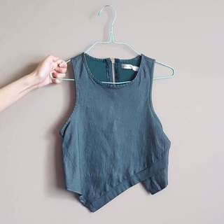Green Asymmetrical Crop Top