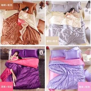 純色 冰絲床套組 四件套🛏️送睡衣 夏季被套 單人床套組 雙人床笠床包 夏季床套組