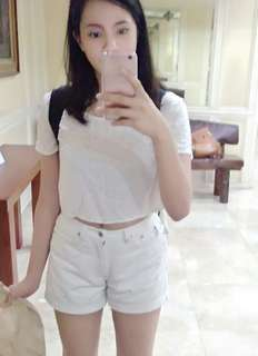 Guess white maong/denim shorts