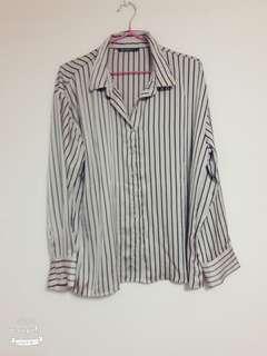 條紋襯衫 尺寸版型偏大M L可#五十元好物