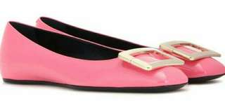 Roger Vivier Barbie Pink Flat with Silver Buckle