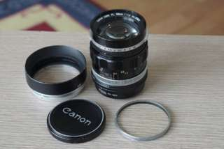 Canon FL (FD) 58mm f 1.2 lens - full set with original hood, filter and adapter for Sony