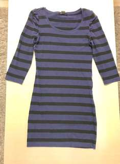 Pre-Loved. FOREVER21 Black & Blue striped fitted mini dress