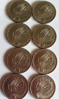 S'pore old 50cents coins 1976-83, 8pcs