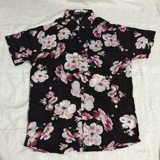Mens Floral Polo Black Pink Full Button Down Polo