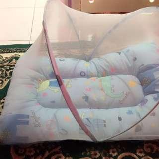 kasur kelambu baby lengkap bantal dan gulingnya
