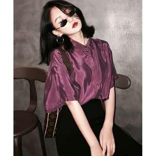VM 2018夏裝新款 韓版時尚復古 顯氣質 亮面深紫色 短袖襯衫